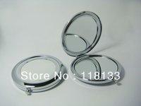 Silver Compact Mirrors DIY Portable Metal Makeup Mirror 2X Magnifying 2PCS/Lot Free Shipping
