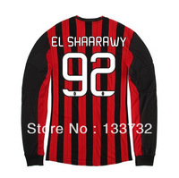 Free Shipping 13/14 AC Milan Home Long Sleeve #92 EL SHAARAWY Jerseys Red Black Football kit 2013-2014 Cheap Soccer Uniforms
