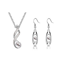 free shipping _ 925 Sterling Silver Austria crystal necklace and earrings set  xj-yigeyuan  ffh J20