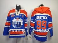 Wholesale Old Time ICE Hockey Hoodies New Jersey Oilers Hoodies 99 Gretzky Blue  #99 Wayne Gretzky Hoody Embroid Jersey