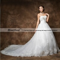 2014 New Arrival Ball Gown Sweetheart Brush Train Concise Fashion Elegant Wedding Dress Sequins Bride Gown HoozGee 23812