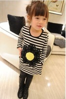 Floral T-shirt fashion black and white striped blouses girls bottoming shirt children clothes winter  tops kids costume dkalch35