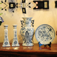Fashion decoration chinese style blue and white ceramic classical standard decoration piece set