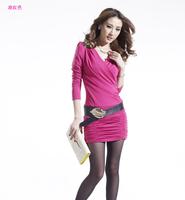 2013 autumn winter V-neck pleated sexy long-sleeve slim hip basic elegant one-piece dress