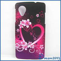 For LG Nexus 5 With New Purple Flower Red Heart Hard Rubber Case Cover For LG Google Nexus 5