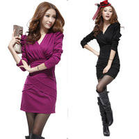 Slim one-piece dress sexy women's 2013 autumn and winter ol elegant long-sleeve slim hip skirt V-neck