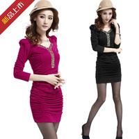 2013 autumn and winter women's one-piece dress slim hip slim long-sleeve basic skirt