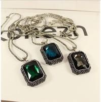 Min order is $9(mix order) Big square gem decoration necklace gualian vintage long design