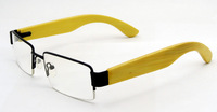 2014 New Free Shipping Eyewear Metal Optical Frame With Wood Temples Half Rim Model 272