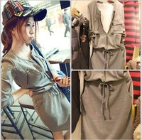 Free Shipping  2013 autumn new arrival casual personality sports drawstring waist elastic b47 one-piece dress