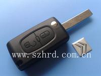 Citroen C5 2 buttons flip key case with groove folding key