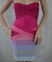 H387  Ladies Gradient Strapless Bandage Dress Pink Purple