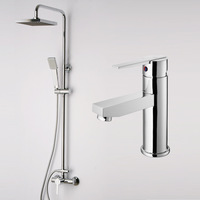 Chromed Shower Set  Brass Shower Faucet With ABS rain Shower Sliding Bar Hand Shower And Brass Basin Mixer