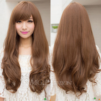 4 Colors Womens Full wigs Long Curly Wavy hair Wig Cosplay Party Halloween Gift[040827]