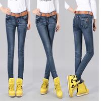 2013 autumn multi-pocket elastic slim skinny slim jeans female trousers