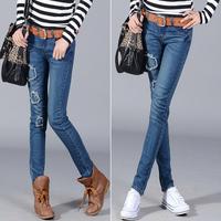 2013 women's spring personalized applique midsweet slim pencil pants jeans female skinny pants