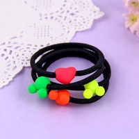 Free Shipping Min.order $10(mix order) 2013 Korean Style New Fashion Fluorescent Color Heart Mickey Mouse Pattern Hair Rope H154