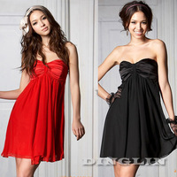 Sexy Women Backless Sleeveless Strapless Cocktail Chiffon Party Novelty One Piece Swing Mini Dress Red Black Free Shipping 0034