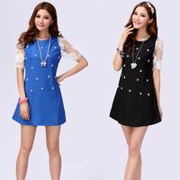 Plus size clothing 2013 classic lace gauze slim summer mm chiffon one-piece dress 2063
