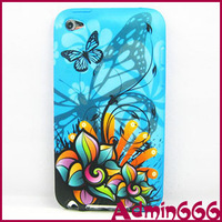 For Apple For Ipod Touch 4 Case With New Blue Butterfly Daisy Flower TPU Gel Silicone Case Cover Skin
