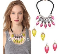 2014 Black Chain Fashion Yellow Fuxia Teardrop Tesin Crystal Chunky Vintage Statement Necklaces Jewelry for women