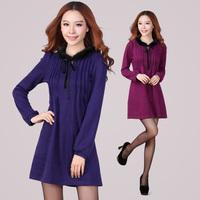 Plus size clothing 2013 autumn mm design long-sleeve dress