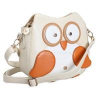 Women Owl Pattern Faux Leather Small Cross Body Bag Shoulder Bag Apricot NI5L