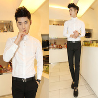 Free shipping 2013 autumn casual male long-sleeve shirt slim all-match men's shirt