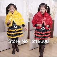 New Fashion Winter Sets three-pcs Girl's Shawl Dress Princess Dress Baby 's Leather Skirt Suit Kids Fur Clothes