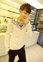 Free shipping Trend 2013 handsome male before and after the print long-sleeve T-shirt all-match casual t-shirt