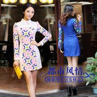 2013 autumn women's slim patchwork geometric patterns graphic color block autumn one-piece dress long-sleeve