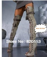 Free shipping New Women Motorcycle Boot Lace up Over Knee Height  Boots Thigh High Heel Boots