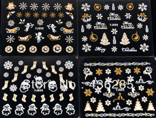 20pcs sliver gold mix styles christmas Design 3D Nail Stickers water Decals Snowflakes Santa tree nai art decoration NA049(China (Mainland))