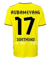 New 13/14 Dortmund Home christmas #17 Aubameyang Yellow shirt Soccer Jerseys Cheap 2013-2014 football kit free shipping