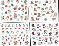 20pcs/pack  mix styles christmas Design 3D Nail Art Stickers water Decals bear deer cat  cap  candy nail art decoration  NA048