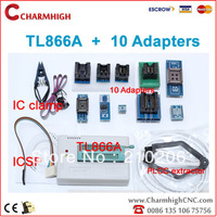TL866A programmer + 10adapters + IC clamp, support 13143+ AVR/PIC ICSP SPI in-circuit, hot sale!