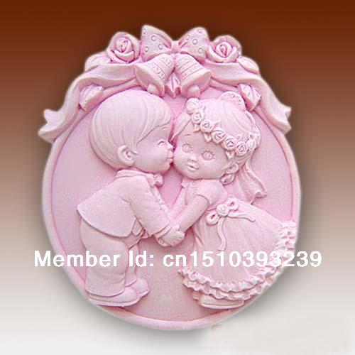 NEW STYLE DIY 3D Sweet Wedding Kiss Silicone Soap Mold, Soap Mold DIY Gift(China (Mainland))