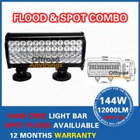 FREE FEDEX SHIPPING! 144W LED WORK LIGHT BAR 48 x 3W CREE LED 10000LM FLOOD SPOT BEAM 4x4 OFFROAD LAMP AUTO DRIVING IP67