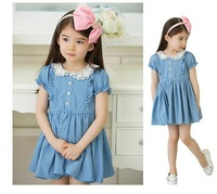 IN STOCK ! Children Lace denim dress for Girl Fashion Princess Dress Gilr Dresses summer size 90-130 5 pcs/lot