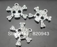 50pcs rhinestone skull Hang Charms Fit Pet Dog Cat Tag Collar Wristband