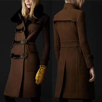 New Spring 2014 Winter Europen America Slim Women's Woolen Cashmere Long Coat Female Outwear Coats Lady Thicken Overcoat S-XXL