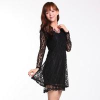 dresses new fashion 2014 Elegnat Lace patchwork ladies print casual dress women new 2014 black and white size S M L XL