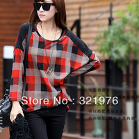 CC565# 2013 New Women British Plaid long Bat Sleeve Casual Lapel Cotton Shirt Pull Over Top Blouses