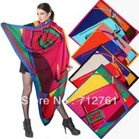 Oversize 140*140cm Kerchief Scarves & Warps & Shawls, Joker Elegant Colorful Scarves for Women, Color Blocking Design