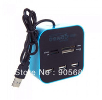 All in One Multi-card Reader with 3 Ports USB 2.0 Hub Combo for SD/MMC/M2/MS free shipping