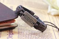 New Style Vintage Alloy Leather Charm Bracelet Women Men Handmade Adjustabel Jewelry  Free Shipping RuYiSLQ159