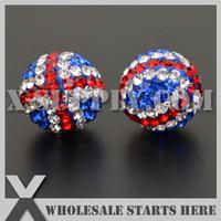 Free Shippng 12mm Charm Clay English Flag Shambala Rhinestone Spacer Beads with Czech Rhinestone For Bracelet