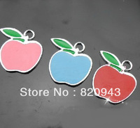 Free shipping, Wholesale Mix Color 50pcs 22x20mm Apple Hang Pendant Charms Fit Pet Collar Bracelet Cell Phone Charms