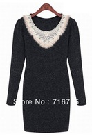 2013 Mujeres Moda Vestido,Fashion Long sleeve Graceful Embroidered Dress,Free Shipping