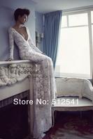 2014 Royal Luxury Lace Wedding Dresses for Bridal Sheath Deep V Neck Long Sleeves Rhinestone Backless yk8R156